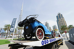 Vintage car waiting to be unloaded at the Emirates Classic Car Festival March 2015 in Downtown district of Dubai United Arab Emirates