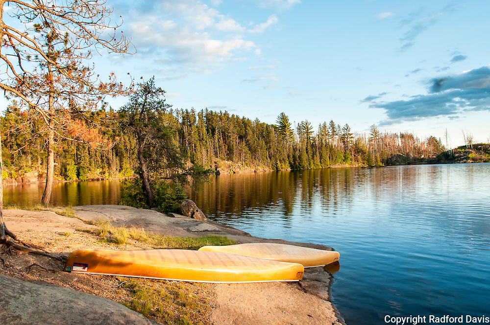 Canoes at sunset, Boundary Waters