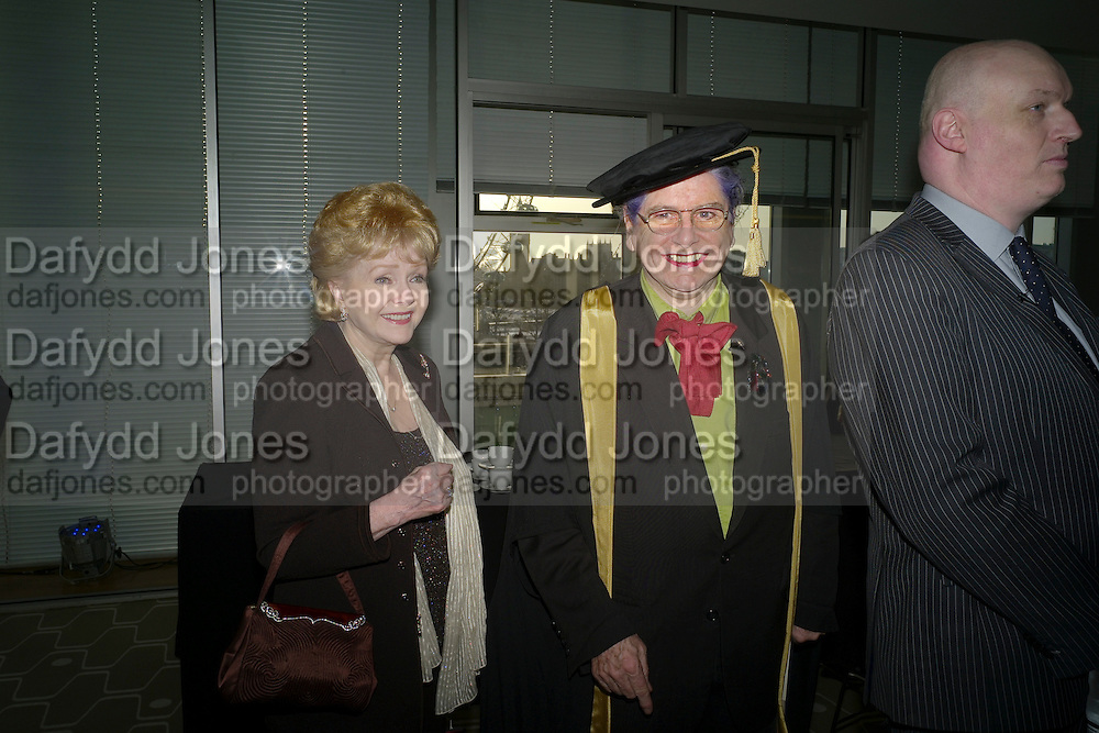 DEBBIE REYNOLDS; ,BETTE BOURNE;  Central School of Speech and Drama presents   Fellowships to Carrie Fisher, Bette Bourne, Joseph Selig and Helen Lannaghan. Royal Festival Hall. London. 12 December 2011.