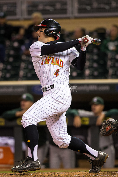 Kevin Smith (4) of the Maryland Terrapins bats during a 2015 Big Ten Conference Tournament game between the Maryland Terrapins and Michigan State Spartans at Target Field on May 20, 2015 in Minneapolis, Minnesota. (Brace Hemmelgarn)