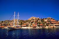 Kale (Simena Castle in background), Kekova Sound, Turquoise Coast, Turkey