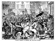 A Quiet Sunday in London; Or, the Day of Rest. (a Victorian cartoon showing a rainy London street scene with protestors, brawling dogs and beggars while people hold banners We Have Got No Work To Do, Skeleton Army and Blood And Fire)