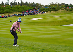 Auchterarder, Scotland, UK. 14 September 2019. Saturday afternoon Fourballs matches  at 2019 Solheim Cup on Centenary Course at Gleneagles. Pictured; Caroline Masson of Europe hits approach shot to 8th green.  Iain Masterton/Alamy Live News