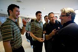 Sabahudin Kovacevic, Ziga Pance, Ales Music, Andrej Hebar st. and Diko Stevic at meeting of Slovenian Ice-Hockey National team, on April 15, 2010, in Hotel Lev, Ljubljana, Slovenia.  (Photo by Vid Ponikvar / Sportida)