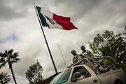 Mexican soldiers leave the barracks to patrol the streets of Tijuana, Mexico.<br /> Spanish: Soldados mexicanos se preparan para salir del cuartel para realizar sus patrullajes en las calles de Tijuana, México.