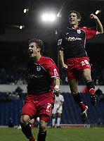 Photo: Paul Thomas.<br /> Leeds United v Southampton. Coca Cola Championship. 18/11/2006.<br /> <br /> Southampton goal scorer Rudi Skacel (L) celebrates his goal with Gareth Bale (R).
