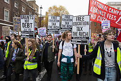 Thousands of students attend a National Demonstration for a Free Education on 4th November 2015 in London, United Kingdom. The demonstration was organised by the National Campaign Against Fees and Cuts (NCAFC) in protest against tuition fees and the Government's plans to axe maintenance grants from 2016.