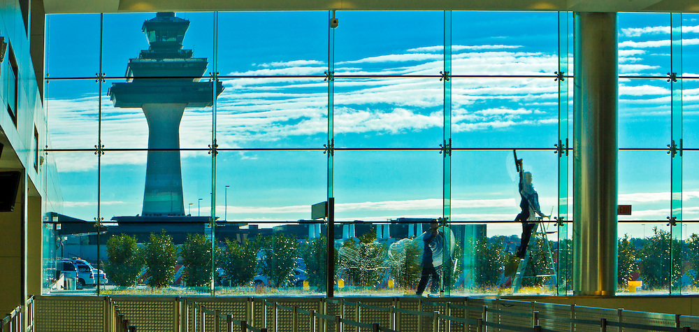 Window washers at Dulles International Airport in Washington, D.C.