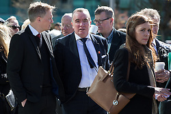 © Licensed to London News Pictures. 26/04/2016. Warrington, UK. IAN AYRE outside the court where the jury is due to deliver their verdicts at the Hillsborough Inquest, at the coroner's court at Birchwood Park.  Photo credit: Joel Goodman/LNP