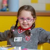 Zoe O'Sullivan enjoys her First day at Ennis National School