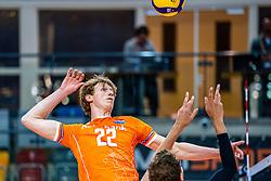 Twan Wiltenburg of Netherlands in action during the CEV Eurovolley 2021 Qualifiers between Sweden and Netherlands at Topsporthall Omnisport on May 14, 2021 in Apeldoorn, Netherlands