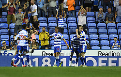 Reading's Jon Dadi Bodvarsson (right) celebrates scoring his side's first goal of the game with team-mates