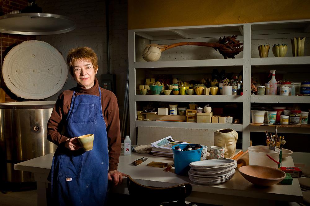 Portrait of Linda Huey at her studio in Boston, MA