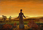 Caspar David Freidrich 1774 – 1840,German romantic artist. Woman before the Rising Sun (Woman before the Setting Sun) 1818-20
