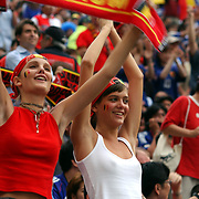 Belgium fans warm up before the match