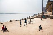Cricket match on the ghats in Varanasi, Uttar Pradesh, India