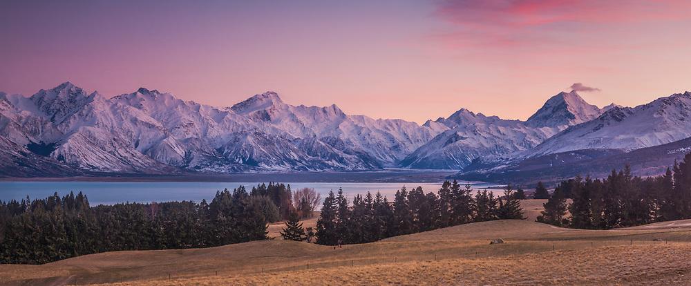 Alpenglow, pre-dawn panorama from above Lake Pukaki, Mounts Sefton (centre) and Aoraki Mount Cook behind, Mackenzie country, Canterbury