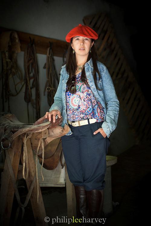 Portrait of Amelia Mera, Female Gaucho, Estancia Huechahue, Patagonia, Argentina, South America