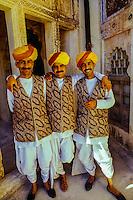 Rajasthani men in turbans, Mehrangarh Fort, Jodhpur, Rajasthan, India