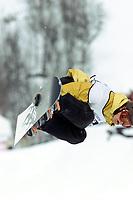Snowboard, NM snøbrett halfpipe Geilo mars 2000. Klas Vangen.