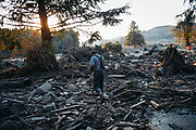 Steve Skaglund walks across the rubble Sunday, March 23, 2014, on the east side of Saturday's fatal mudslide near Oso, Washington. On March 22, 2014, a major landslide tore through the Stillaguamish Valley destroying the Steelhead Haven neighborhood and killing 43 people.