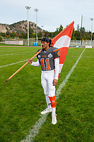 KELOWNA, BC - OCTOBER 6: Nate Adams #41 of Okanagan Sun stands on the field after the win against the VI Raiders at the Apple Bowl on October 6, 2019 in Kelowna, Canada. (Photo by Marissa Baecker/Shoot the Breeze)