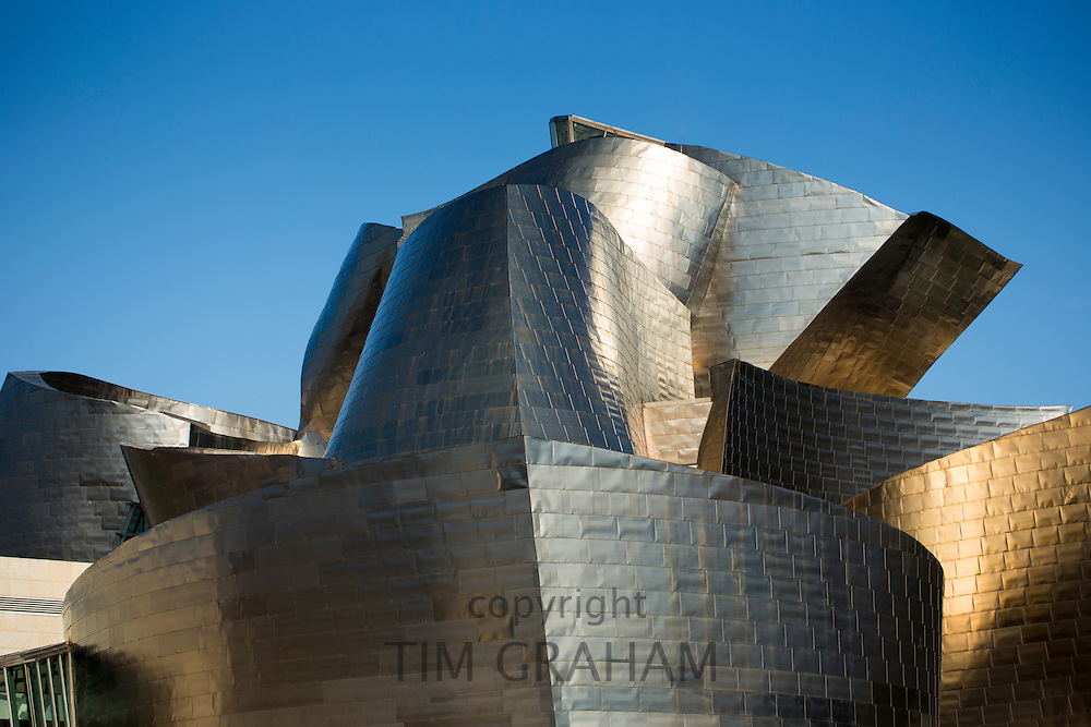 Architect Frank Gehry's Guggenheim Museum futuristic architectural design in titanium at Bilbao, Basque country, Spain