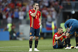 (L-R) Daniel Carvajal of Spain, Koke of Spain during the 2018 FIFA World Cup Russia round of 16 match between Spain and Russia at the Luzhniki Stadium on July 01, 2018 in Moscow, Russia