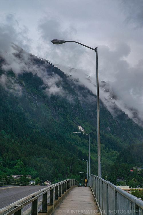 Sidewalk, Douglas Bridge & Mount Juneau