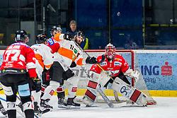 25.01.2019, Ice Rink, Znojmo, CZE, EBEL, HC Orli Znojmo vs Moser Medical Graz 99ers, 41. Runde, im Bild v.l. Nicolas Hlava (HC Orli Znojmo) Travis Oleksuk (Moser Medical Graz99ers) Dwight King (Moser Medical Graz99ers) Tomas Halasz (HC Orli Znojmo) // during the Erste Bank Eishockey League 41th round match between HC Orli Znojmo and Moser Medical Graz 99ers at the Ice Rink in Znojmo, Czechia on 2019/01/25. EXPA Pictures © 2019, PhotoCredit: EXPA/ Rostislav Pfeffer
