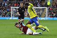 Michael Keane of Burnley  tackles Romelu Lukaku of Everton. Premier League match, Burnley v Everton at Turf Moor in Burnley , Lancs on Saturday 22nd October 2016.<br /> pic by Chris Stading, Andrew Orchard sports photography.