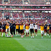 Galatasaray's and Trabzonspor's players during their Turkish superleague soccer derby match Galatasaray between Trabzonspor at the AliSamiYen spor kompleksi TT Arena in Istanbul Turkey on Saturday, 18 May 2013. Photo by Aykut AKICI/TURKPIX