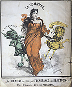 Paris Commune 26 March-28 May 1871.  The Commune arrested by Ignorance and Reaction (Jules Favre and  Louis Adolphe Thiers). France Politician Revolution