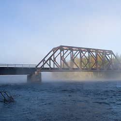 Railroad bridge over the Kennebec River Maine USA