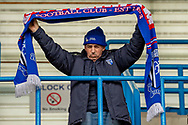 A Gillingham fan holds up his scarf during the EFL Sky Bet League 1 match between Gillingham and Scunthorpe United at the MEMS Priestfield Stadium, Gillingham, England on 16 February 2019.