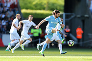 Joe Allen of Stoke city in action..Premier league match, Swansea city v Stoke City at the Liberty Stadium in Swansea, South Wales on Saturday 22nd April 2017.<br /> pic by Andrew Orchard, Andrew Orchard sports photography.