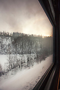 View from a compartment on the BAM (Baikal-Amur Mainline) railway, outskirts of Tynda, Siberia, Russia