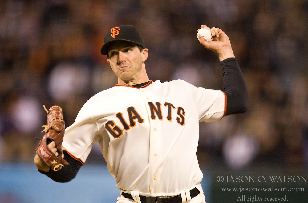 April 12, 2010; San Francisco, CA, USA;  San Francisco Giants starting pitcher Barry Zito (75) during the second inning against the Pittsburgh Pirates at AT&T Park. San Francisco defeated Pittsburgh 9-3.