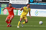 Luton Town attacker Elliot Lee (10) and Bristol Rovers midfielder Edward Upson (6) battle for possession during the EFL Sky Bet League 1 match between Luton Town and Bristol Rovers at Kenilworth Road, Luton, England on 15 September 2018.