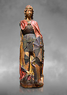 Gothic terracotta statue of the Archangel Gabriel attributed to Lorenzo Mercadante de Bretanya of Seville, circa 1460, from the convent of Santa Clara de Fregenal de la Sierra, Badajoz..  National Museum of Catalan Art, Barcelona, Spain, inv no: MNAC  4367. Against a grey art background. .<br /> <br /> If you prefer you can also buy from our ALAMY PHOTO LIBRARY  Collection visit : https://www.alamy.com/portfolio/paul-williams-funkystock/gothic-art-antiquities.html  Type -     MANAC    - into the LOWER SEARCH WITHIN GALLERY box. Refine search by adding background colour, place, museum etc<br /> <br /> Visit our MEDIEVAL GOTHIC ART PHOTO COLLECTIONS for more   photos  to download or buy as prints https://funkystock.photoshelter.com/gallery-collection/Medieval-Gothic-Art-Antiquities-Historic-Sites-Pictures-Images-of/C0000gZ8POl_DCqE