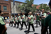 The Oregon Marching Band marches in a parade in Traverse City, Michigan on July 10, 2009.