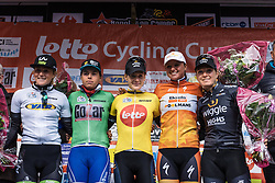The celebrated riders are presented ot the crowds - Le Samyn des Dames 2016, a 113km road race from Quaregnon to Dour, on March 2, 2016 in Hainaut, Belgium.