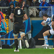 Lucas Gonzalez Amorosino, Argentina, scores the only try of the match  during the Argentina V Scotland, Pool B match at the IRB Rugby World Cup tournament. Wellington Regional Stadium, Wellington, New Zealand, 25th September 2011. Photo Tim Clayton...