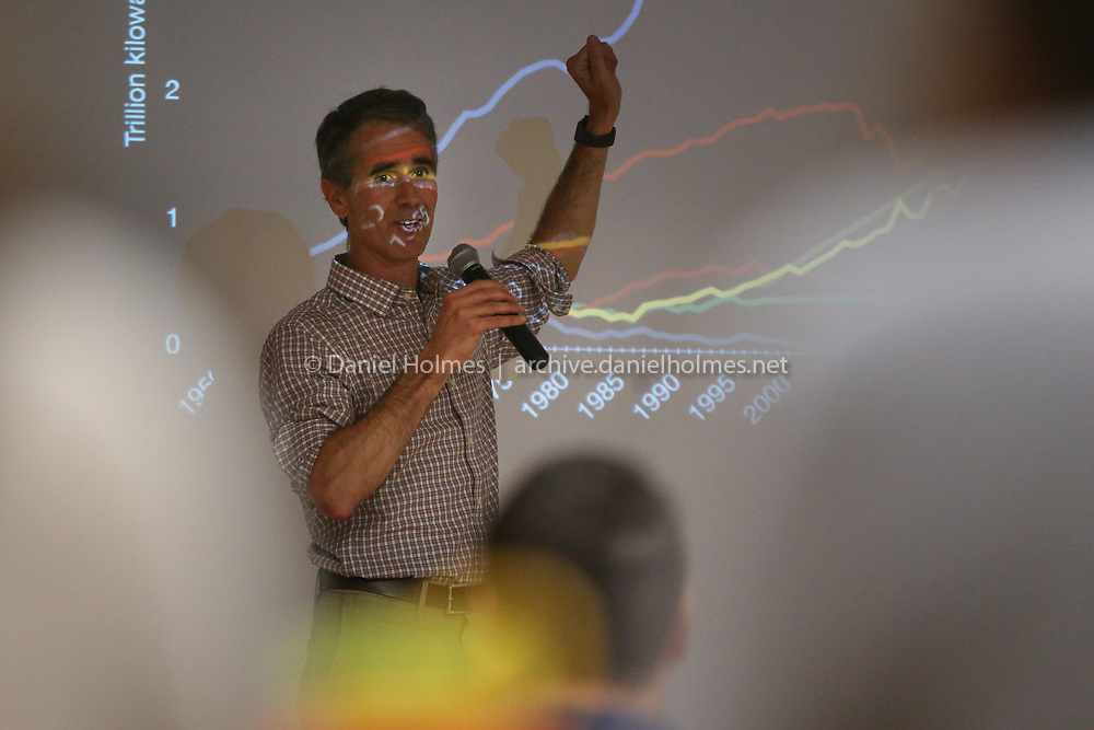 (9/25/19, NATICK, MA) Jay Turner, Associate Professor of Environmental Studies at Wellesley College, discusses trends in energy use during the panel discussion on climate change at the Natick Senior Community Center on Wednesday. [Daily News and Wicked Local Photo/Dan Holmes]