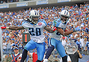Sept 20,2009, Nashville, Tennessee, USA;  Chris Johnson(28), and Nate Washington(85) of the Tennessee Titans celebrate a Titans touchdown against the Houston Texans.  The Texans held on for the 34-31 win.