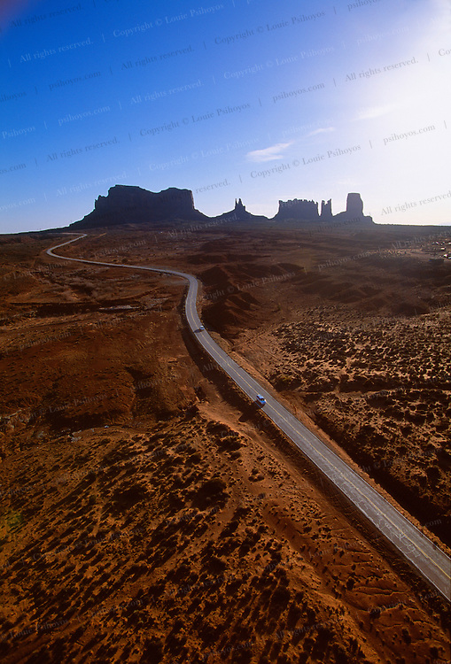 Located in southeastern Utah and northeastern Arizona, Monument Valley was created by erosion.  Part of the Navajo Indian Reservation, the land is distinguished by red sandstone mesas, buttes, and arches.