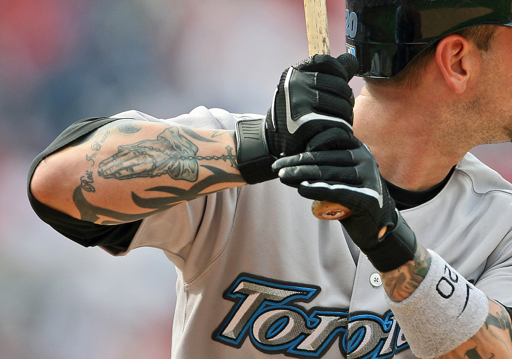 PHILADELPHIA - MAY 20: Second baseman Ryan Roberts #20 of the Toronto Blue Jays stands at the plate with his tattooed arms visible during the game against the Philadelphia Phillies on May 20, 2007 at Citizens Bank Park in Philadelphia, Pennsylvania. The Phillies defeated the Blue Jays 5-3. (Photo by Drew Hallowell/Getty Images)