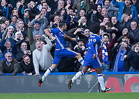 Football - 2016 / 2017 Premier League - Chelsea vs. WBA<br /> <br /> Diego Costa of Chelsea celebrates in front of the jubilant fans after he scores the only goal of the game at Stamford Bridge.<br /> <br /> COLORSPORT/DANIEL BEARHAM