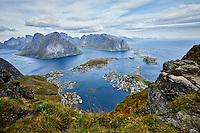 Reine, Norway viewed from the top of Reinebringen mountain in the Lofoten Islands.