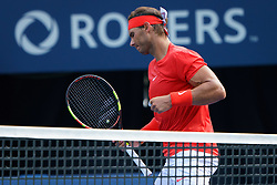 August 12, 2018 - Toronto, ON, U.S. - TORONTO, ON - AUGUST 12: Rafael Nadal (ESP) celebrates after winning a point at during the Rogers Cup tennis tournament Final on August 12, 2018, at Aviva Centre in Toronto, ON, Canada. (Photograph by Julian Avram/Icon Sportswire) (Credit Image: © Julian Avram/Icon SMI via ZUMA Press)